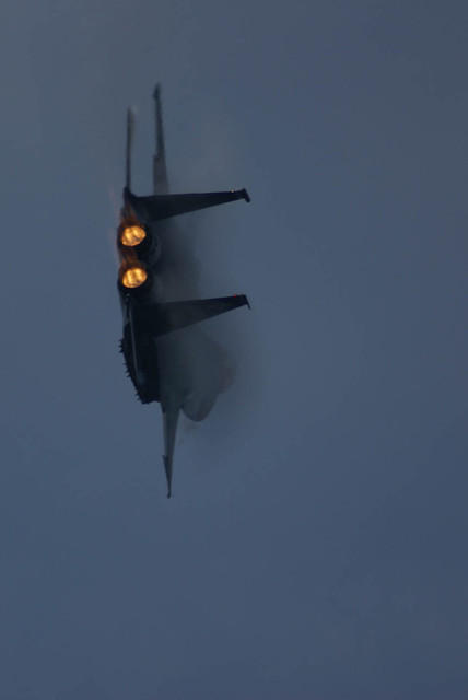 F-15E Strike Eagle - In Turn in Afterburn With Water Vapor