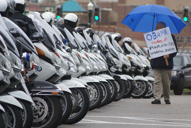 Boise Idaho Tea Party - Man and Police Motorcycles