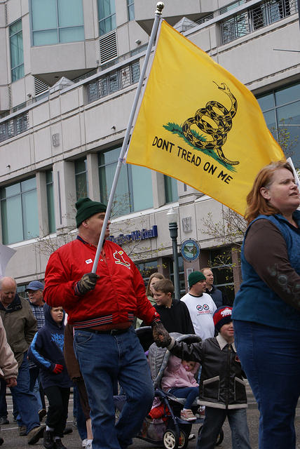 Boise Idaho Tea Party - Marching With Dont Tread on Me Flag