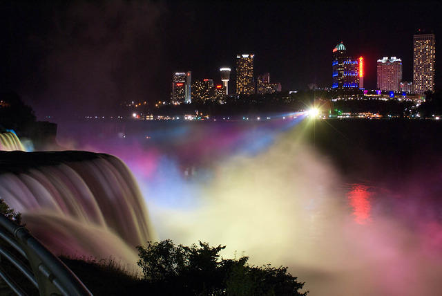 The American Falls Lit at Night