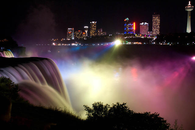 Canadian Skyline and Lights on the American Falls