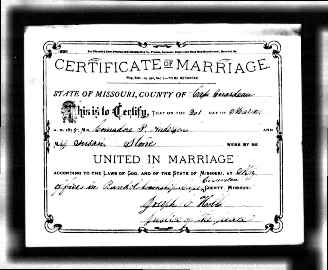 Anderson commodore perry b jan 1854 ohio united states d yes anderson commodore perry and stone susan missouri marriage certificate aiddatafo Images